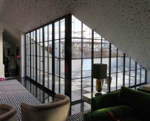wärmegedämmtes Faltelement aus Stahl mit Sprossen, Industriedesign
