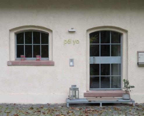 Stahl-Glastür mit Bogen und Sprossen