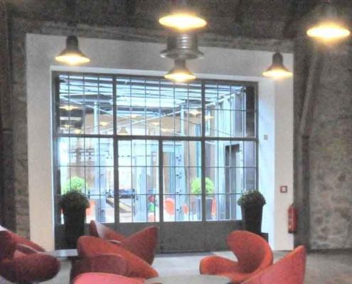 Stahl Glas Innentrennwand mit Tür Industrie Look