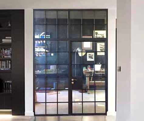 Innentür zweiflüglig mit Oberlicht, Industrial Loft Stil mit Sprossen schwarz