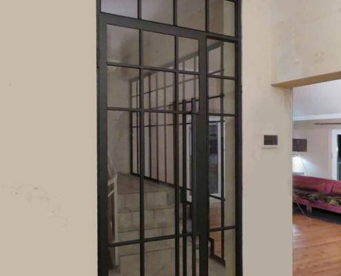 Innentür Stahl-Glas Industriedesign mit Sprossen schwarz