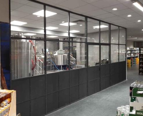 Trennwand Stahl-Glas mit Tür zweiflüglig, schwarz im Industriestil